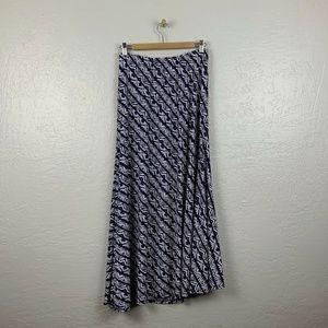 Chico's Size 0 S Maxi Skirt Navy Blue White Stripe